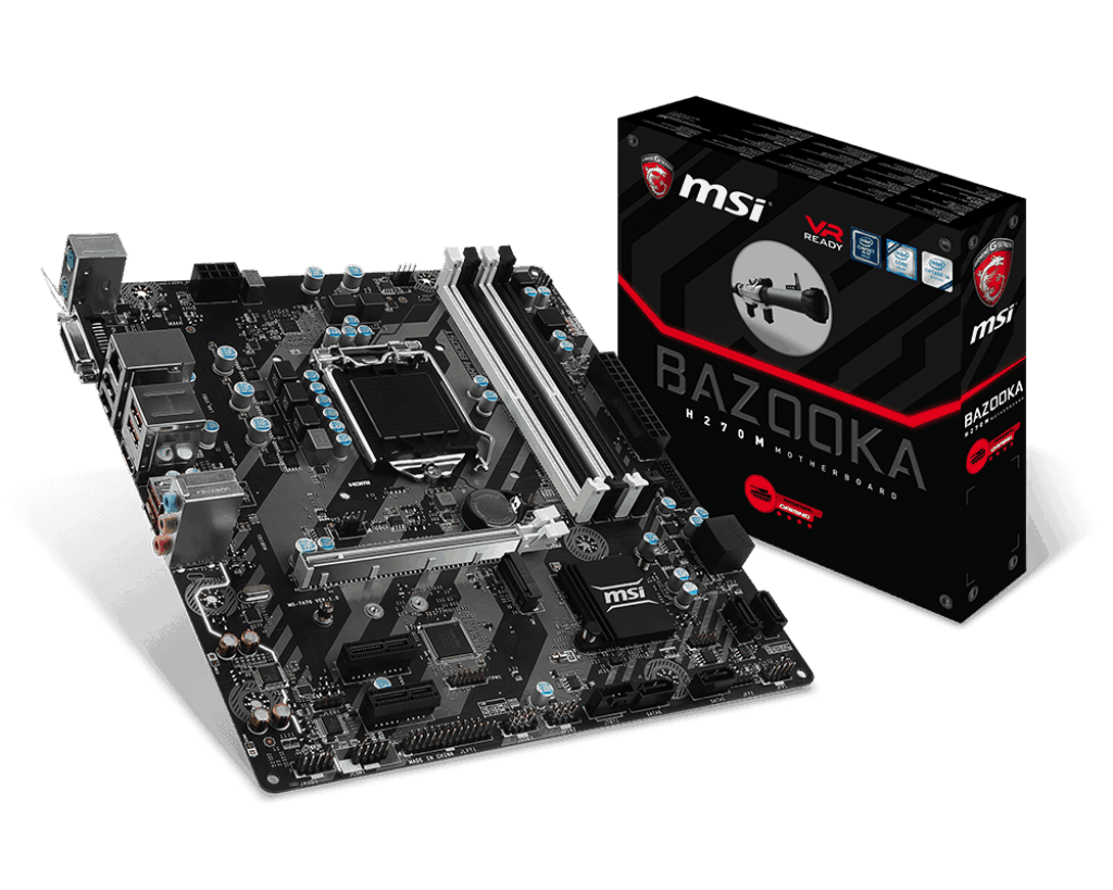 MSI H270M BAZOOKA VR Ready M-ATX Motherboard - Black (Intel Core i3/i5/i7  Processor, LGA 1151, Dual Channel DDR4, USB 3 1, PCI-E 3 0, PCI-E x1, Sata  6