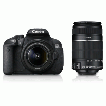 Canon EOS 700D 18MP Digital SLR Camera With Body & Lenses (18-55mm) (18-135mm) Double Zoom (18-55mm, 55-250mm)