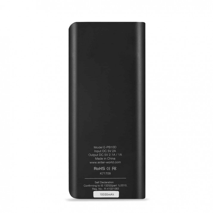 ENTER POWER BANK 10000MAH E-PB10B satyamfilm.com kartmy.com, Enter Offer Best quality of 10000mah power bank ,design is very appealing , Last long power, Quick charging capacity ,Intelligent Protection. BRAND: enter. Model: E-PB10B 10000mAh Power Bank. Box Contents: Power Bank, Micro USB Cable and User Guide. Battery Charging. Capacity.,