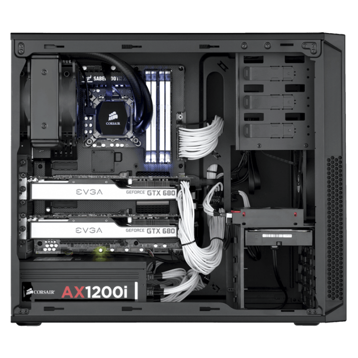 Carbide Series 200R ATX Case is compact, but it's designed to let you build high-performance systems with massive storage, extra graphics performance and superior cooling and ventilation. You get seven PCI-E slots and you can install up to four hard drives and four SSDs at once. Eight fan mounting points let you expand your cooling system to match your high-performance components. Build with the Carbide Series 200R and the only time you will need to pick up a screwdriver is to install the motherboard. The side panels and expansion slots use thumbscrews and SSD, hard drive and optical drive installation are all tool-free. Cutouts for cable routing and CPU cooling make builds and upgrades neat and simple.The mid-tower form factor combines room for expandability and out-of-the-way exterior dimensions. The USB 3.0, headphone and microphone ports are right up front and the front intake dust filter helps keep the interior clean.Other features are side panel thumbscrews, PCI-E expansion card thumbscrew mounts, tool-free SSD, hard drive and optical drive installation, cutouts for cable routing and CPU cooling, Seven PCI-E slots with thumbscrews and room for cards up to 430 mm long, CPU coolers up to 160 mm in height, install up to 4 hard drives and four SSDs at once, up to 8 fan mounts (depending on hard drive configuration), dust filters behind the front intake fan help keep the interior clean., Designed for Easy BuildsLess work. More play. Build with the Carbide Series™ 200R and the only time you'll need to pick up a screwdriver is to install the ..., Buy Corsair Carbide Series 200R Windowed Compact ATX Case ... Corsair Carbide Series 100R CC-9011075-WW Black Steel ATX Mid Tower .... This cabinet is so fancy it can almost handle anything to want to install in it., Designed for Easy BuildsLess work. More play. Build with the Carbide Series 200R and the only time you'll need to pick up a.