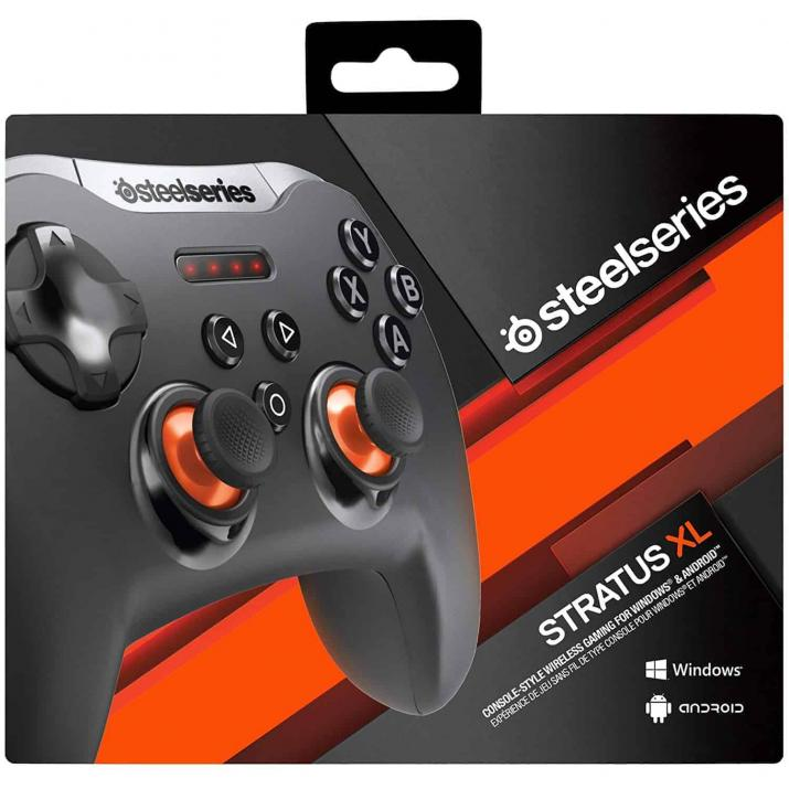 SteelSeries Stratus XL Wireless Gaming Controller for Windows and Android 69050, For Windows and Android Systems Bluetooth 2.1 Wireless Connectivity 2 x Analog Sticks, 1 x D-pad 4 x Shoulder Buttons, 4 x ABXY Buttons 4 x Status & Connectivity LEDs Dedicated OS Switch Powered by 2 x AA Batteries Supports Steam Big Picture Customizable with Engine 3 Software