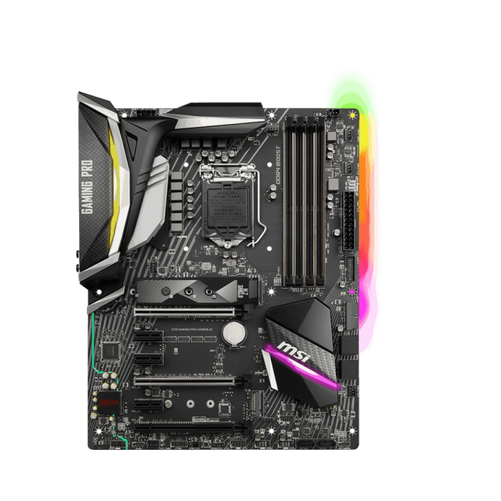 MSI Z370 GAMING PRO CARBON AC gaming motherboard supports 8th Gen Intel® Core processors for LGA 1151 socket, DDR4 4000+(OC) MHz memory, and ... DDR4 Memory. 4000+(OC)/ 3866(OC)/ 3733(OC)/ 3600(OC)/ 3466(OC)/ 3400(OC)/ 3333(OC)/ 3300(OC)/ 3200(OC)/ 3000(OC)/ 2800(OC)/ 2667/ 2400/ 2133 ... Check out MSI Z370 Gaming Pro Carbon AC ATX Motherboard reviews, ratings, features, specifications and browse more MSI products online at best prices on ... FEATURES Supports 8th Gen Intel® CoreTM / Pentium® Celeron® processors for LGA 1151 socket Supports DDR4 Memory, up to 4000+(OC) MHz MYSTIC ...