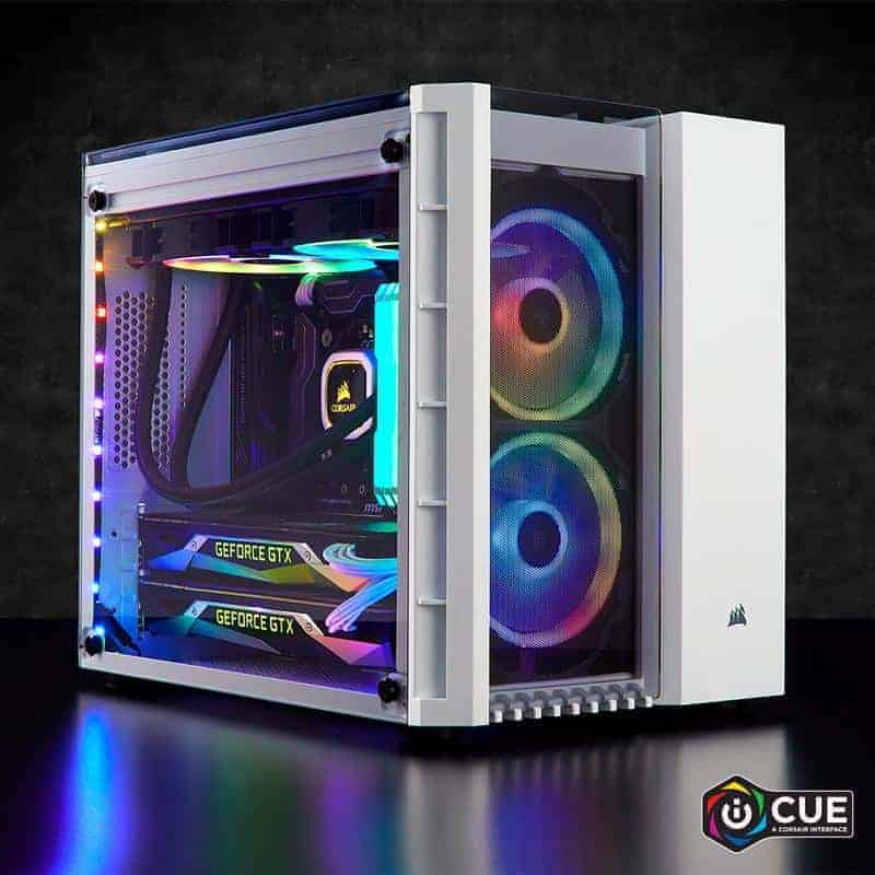 Black CORSAIR Crystal 280X Micro-ATX Case Tempered Glass