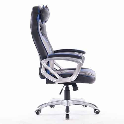 Ant E Sports WB-8077 PU and PVC Painting Class 2 Gas Fit Silver Metal Base Casters Gaming Chair with 90-135 Degree Angle Adjustable Backrest, 80mm, 350mm
