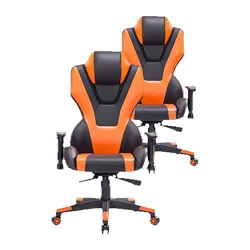 Ant E Sports 8198 PU and PVC Metal Frame Gaming Chair with Adjustable Backrest Angle (Orange and Black)