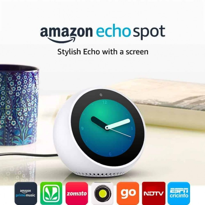 Amazon Echo Spot – Smart Alarm Clock with Alexa - White