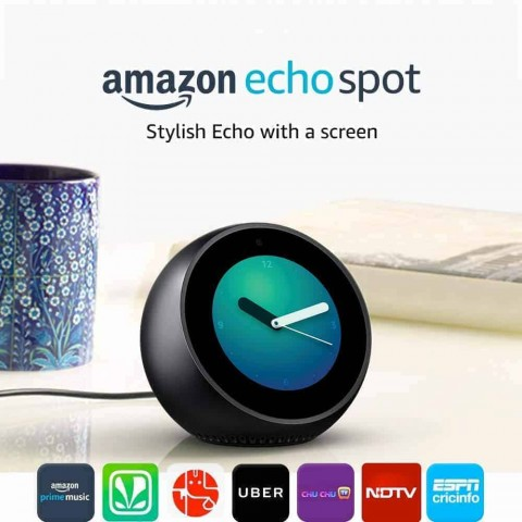 Amazon Echo Spot – Smart Alarm Clock with Alexa – Black