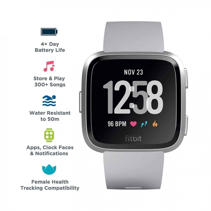 Fitbit Versa Health and Fitness Smartwatch, Onesize (Grey) (Unisex)