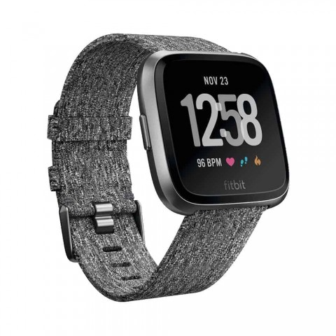 Fitbit Unisex Versa Special Edition Health and Fitness Smartwatch, Onesize (Charcoal) Woven