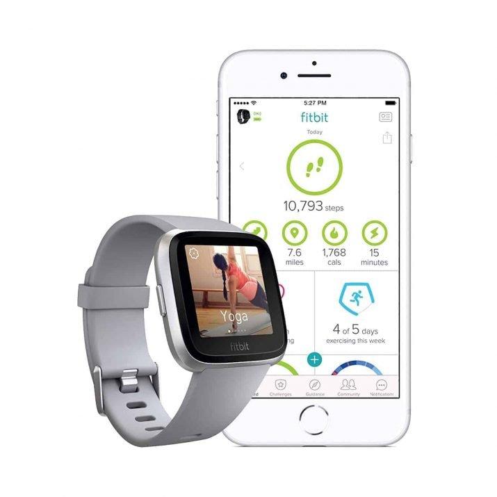 Fitbit Versa Health and Fitness Smartwatch, Onesize (Grey) (Unisex)