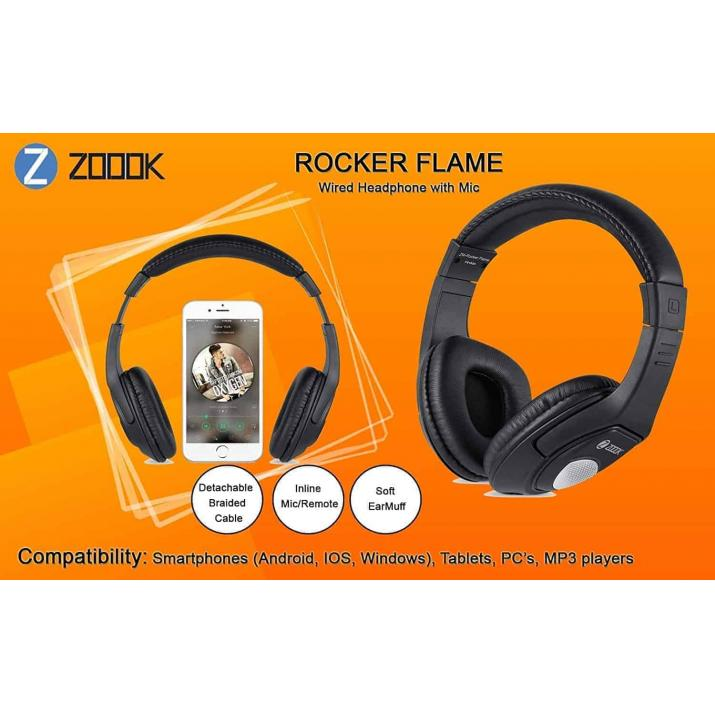Zoook Rocker ZK-ZM-Rockerflam Headphone with Mic (Black)