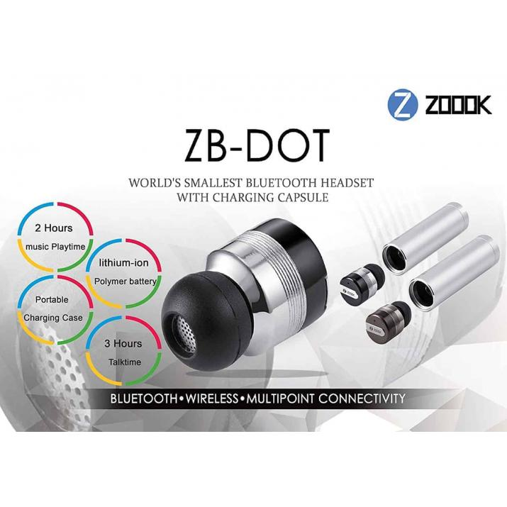 Zoook ZB-Dot Wireless Bluetooth Headset (Improved Version) (Worlds Smallest Bluetooth headset) (Space Grey)