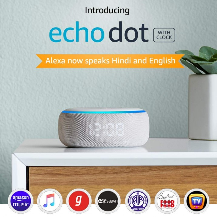 Echo Dot (3rd Gen) with clock - New and improved smart speaker with Alexa and LED display (White)