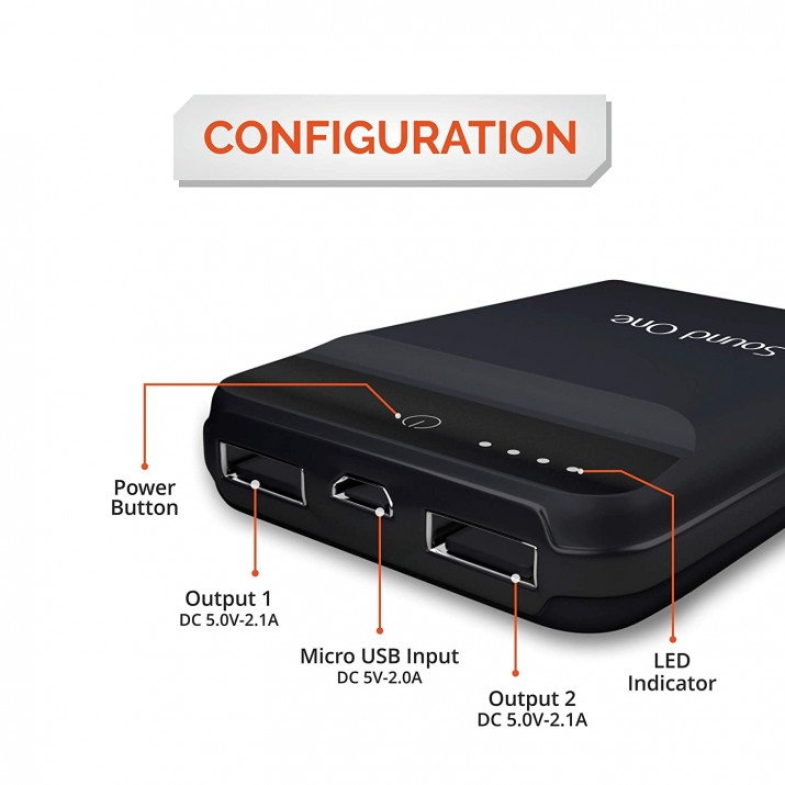 Sound One S1003 10000mAH Lithium Polymer Power Bank (Black)