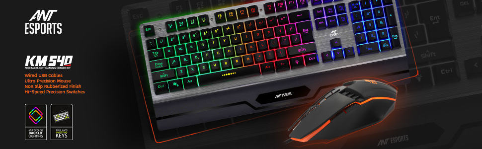 Ant Esports KM540 Gaming Backlit Keyboard and Mouse Combo