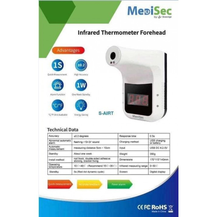 Self Forehead Infrared Non Contact IR Thermometer for Fever Detection with FCC, PSE
