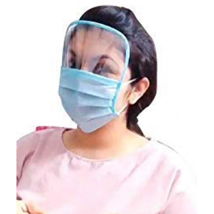 3 Ply Face Protective Mask with Transparent Shield for Men and Women, 10, 20, 50, 100 Piece