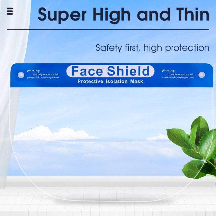 Multipurpose Reusable Polycarbonate Safety Face Shield, Transparent Face Mask, Protective Splash Face Mask, Clear Visor Windproof Dustproof with Elastic Band