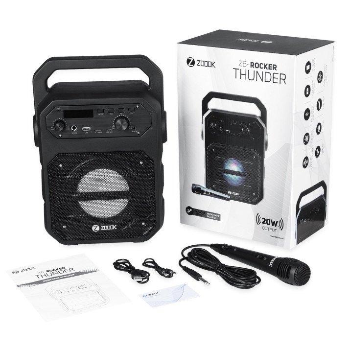 Zoook Rocker Thunder 20 watts Bluetooth Speaker with Karaoke Mic/TF/FM/LED/USB/Party Speaker