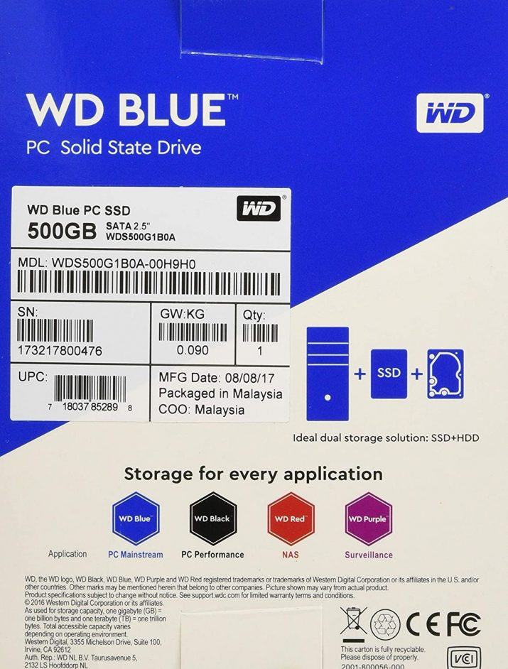 Western Digital Blue 500GB Internal Solid State Drive