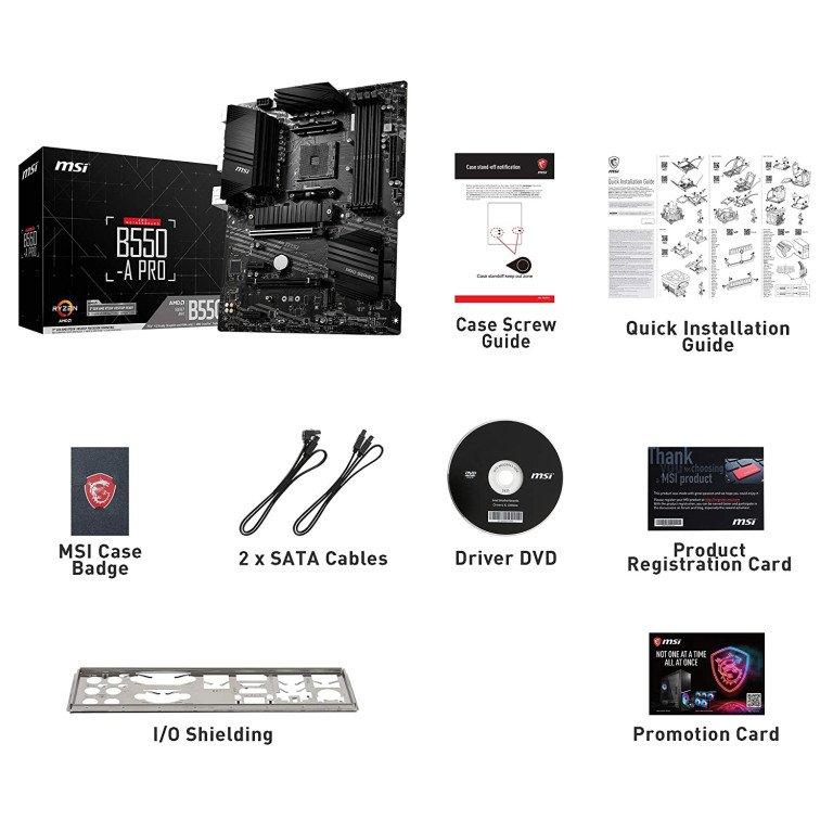 MSI B550-A PRO ProSeries Motherboard (AMD AM4, DDR4, PCIe 4.0, SATA 6Gb/s, M.2, USB 3.2 Gen 2, HDMI/DP, ATX)